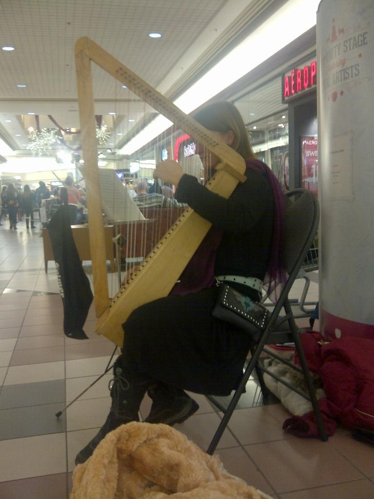 Ashley Dawson - Harpist - at the Mall for Christmas